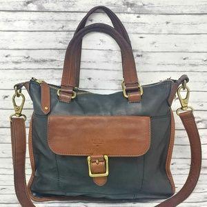 FOSSIL-Black & Brown Pebbled Leather Messenger Bag